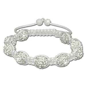 SilberDream Bracelet - Shamballa bracelet blanc avec 9 boules en zircon - Bracelet Femme et Hommes - SDA930