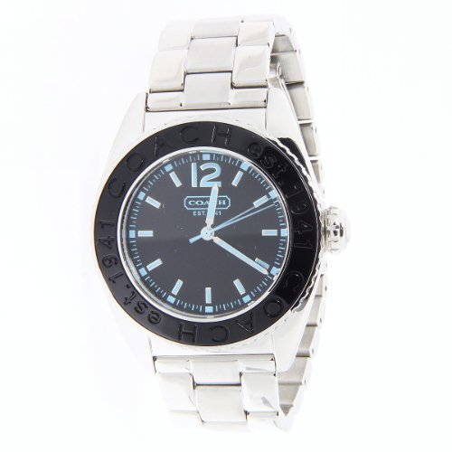 Coach women's boyfriend style watch Andee collection black dial with silver stainless steel bracelet 14501378.
