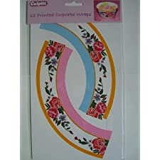 12 unidades para porcelana envoltorios para magdalenas con diseño de rosas