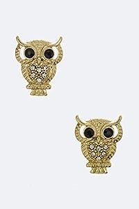 Chic Chelsea Crystal Owl Stud Earrings (Gold)
