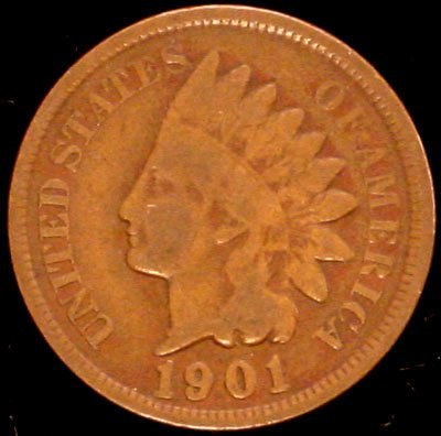 1901 Indian Head Cent / Penny Circulated Good or Better in Coin Flip