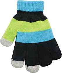 True Gear Fun MultiColored Touch Texting Gloves (Blue/Green/Black)