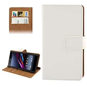 Horizontal Flip Top-grain Leather Case with Credit Card Slot & Holder for Sony Xperia Z1 / L39h (White)