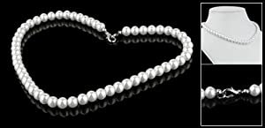Rosallini Charming Pearl Necklace w. Metal Clasp Costume Jewelry