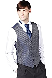 5 Button Brick Print Wedding Waistcoat