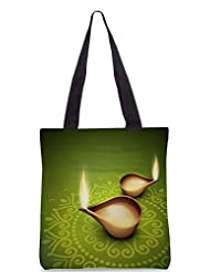 Snoogg Beautiful Illuminating Diya Background For Hindu Community Festival Diwali Designer Poly Canvas Tote Bag - B012FVS684