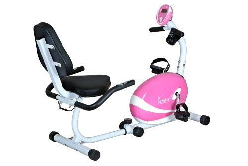 New Sunny Health and Fitness Pink Magnetic Recumbent Bike