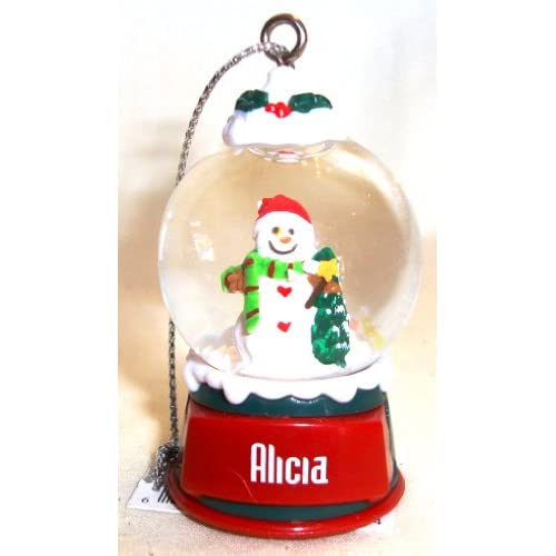 Alicia Christmas Snowman Snow Globe Name Ornament
