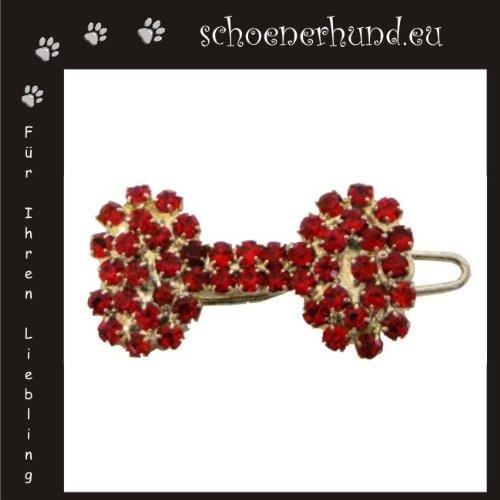 Artikelbild: Haarschmuck für Hunde mit funkelnden Strass - Exklusive Haarspange von Dogs Stars - Knochen rot