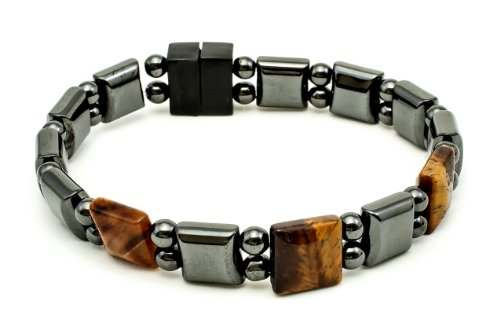 Tiger Eye & Magnatite Woman'S Magnetic Therapy Bracelet - Size Lg - 7.5 In. - Made In Usa