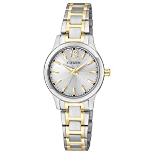 Citizen EL3034-58A women's small round face silver dial silver and gold bracelet