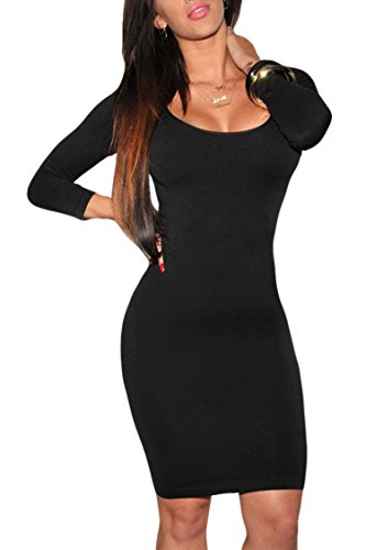 Womens Long Sleeves Crewneck Bodycon Bandage Midi Evening Dresses in Black Small