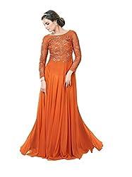 Justkartit Women's Net Dress Material (JK3020 _Rust (Orange))