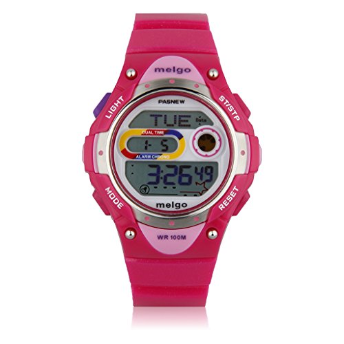 Cool Pasnew LED 100M Waterproof Digital Sport Watch for 5-15 Years Old Boys Girls Kids Students (Pink)