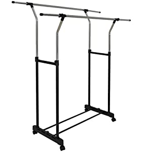 adjustable garment rack clothing rail with wheels clothes. Black Bedroom Furniture Sets. Home Design Ideas