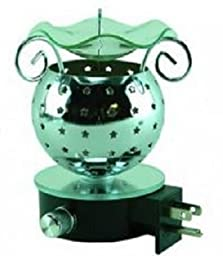 New Electric Plug In Aroma Lamp Fragrance Oil Warmer Burner - Silver with stars and Dimmer ...