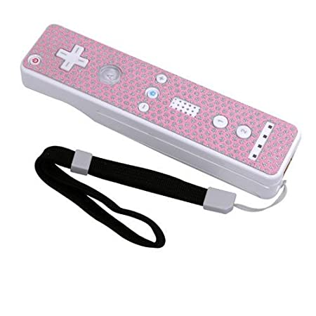 Controller Sticker w/ Wrist Strap for Nintendo Wii, Pink Honeycomb