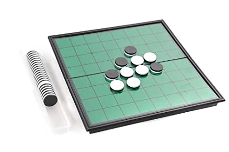 Azerus Standard Line: Classic Reversi, jeu de société utilisant des pièces de jeu magnétique, taille standard M (25cm x 25cm x 2cm), le conseil sert comme un cas de déplacement et boîte de rangement en métal