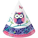 Creative Converting Owl Pal Party Hats, 8-Count
