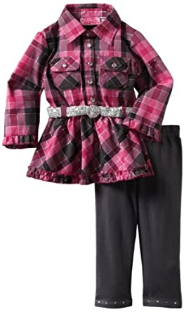 Young Hearts Baby-Girls Infant 2 Piece Plaid Legging Set, Dark Pink, 12 Months