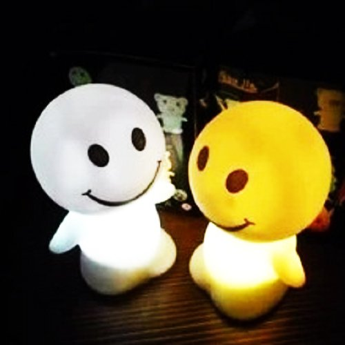 3Cera®Led Night Light,Lamp,Great For Children Bedroom /Xmas Tree/House Decor,Gift(Doll Shape,Plastic, White, Blink In 7 Colors,Battery Powered,5Pc)