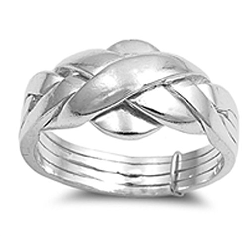 Sterling Silver Woman's Puzzle Braid New Ring Polished 925 Band 11mm Size 12