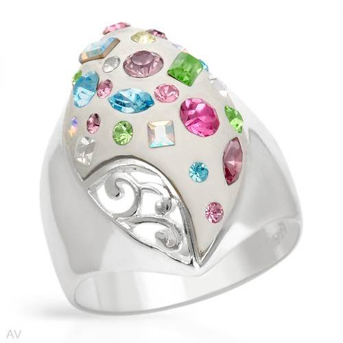 Ring With Genuine Crystals Made in White Enamel and 925 Sterling silver. Total item weight 7.7g (Size 7)