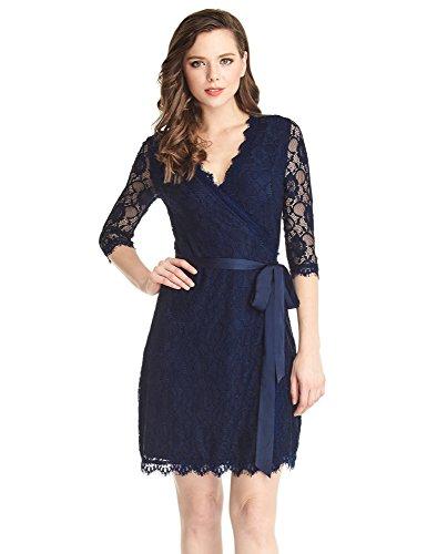 Grapent Women's Blue Crochet Lace 3/4 Sleeves Midi Wrap Dress Blue Lining US 14