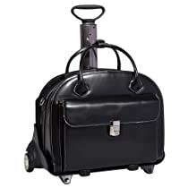 McKleinUSA GLEN ELLYN 94365 Black Leather Detachable-Wheeled Women's Case