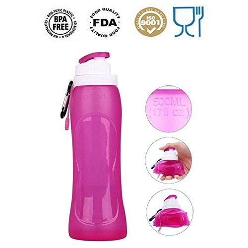 Collapsible Silicone Sports Water Bottle BPA Free FDA Approved Easy to Clean and Store Water Bottle Used for Traveling Camping Hiking Walking Running Jogging Freezable Leak Proof Purple Bottle 17oz