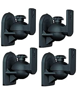 Mount-it 2 Black Universal Satellite Speaker Mounts / Brackets for Walls and Ceilings (4)