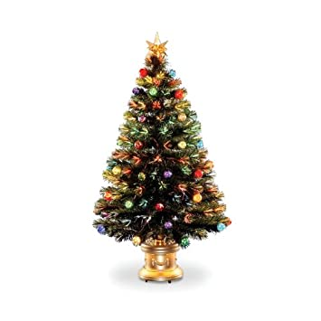 #!Cheap Fiber Optic Fireworks Tree with Ornaments and Star - 4 Foot