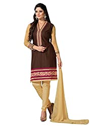 Vibes Womens Cotton Patch Work Straight Dress Material (V267-9 _Brown _Free Size)