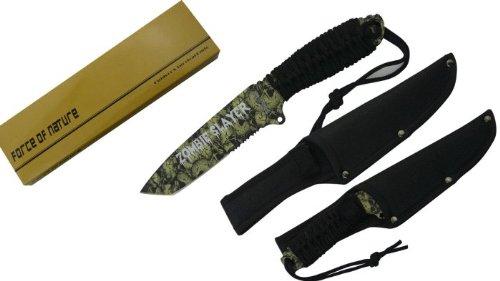 "10 1/4"" Hunting Knife.Skull Printed & Zombie Slayer On Blade"