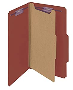 "Smead Pressboard Classification File Folder with SafeSHIELD® Fasteners, 1 Divider, 2"" Expansion, Legal Size, Red, 10 per Box (18775)"