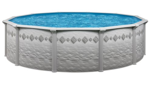 "24' Round 52"" High Above Ground Pacific Swimming Pool Package with Boulder Swirl Liner, Hayward Filter System, Ladder, Thru Wall Skimmer and Deluxe 5 Pc Maintenance Kit Including 30' Vac Hose, Vac Head, Wall Brush, Leaf Net and Thermometer"