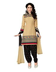Justkartit Women's (and Girls) Beige & Black Colour Cotton Patiala Style Unstitched Dress Material (Patiala Salwar...