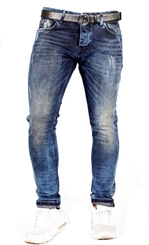 Cama Premium Uomo Tendenza Jeans Esclusiva Magrissime Slim Denim comfort Lifestyle - Scarolo Blu, 36W