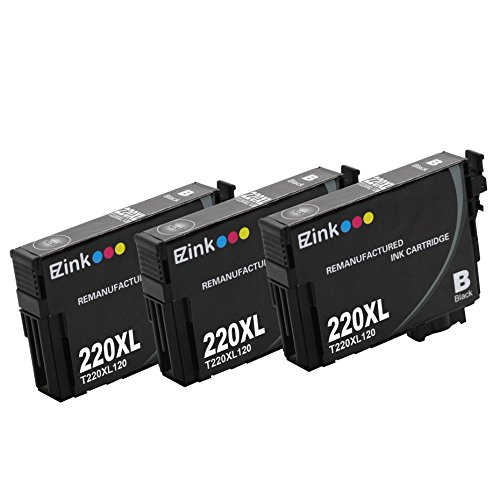 E-Z Ink (TM) Remanufactured Ink Cartridge Replacement for Epson 220XL 220 XL T220XL120 High Capacity (3 Black) Compatible with Expression XP-320 XP-420 XP-424 WorkForce WF-2630 WF-2650 WF-2660