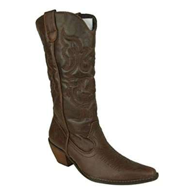 Brown Womens Fashion Boots on Ladies Cowboy Western Faux Leather Boots Womens Size