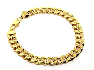 """LUXURY Curb Bracelet - 24 k Gold plated - New - 10mm 8"""" Cheap Bling solid"""