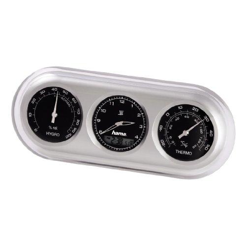 Hama Wetterstation mit Funkuhr, Wecker, Thermometer und Hygrometer, analog, silber