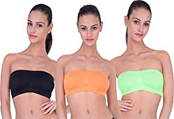 PIFTIF seamless non padded non wire strapless bandeau full side covrage tube bra for women's and girl s fit size ( 28 in to 36 in) ORANGE BABYPINK BLACK
