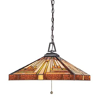 Quoizel TF885CVB Stephen Hanging Pendant Tiffany Lamp with 256 Pieces of Tiffany Glass, Vintage Bronze
