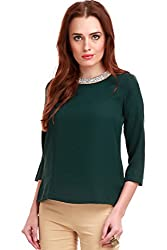 Blingy Neck Green Top