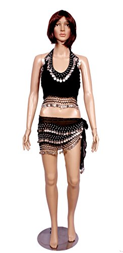 A 2pc Set of Black Belly Dance Skirt-top & Beaded Hip Scarf Costume Set