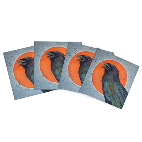 "Kess Inhouse Lydia Martin ""Raven Sun"" Outdoor Place Mat, 15 By 15-Inch, Set Of 4"