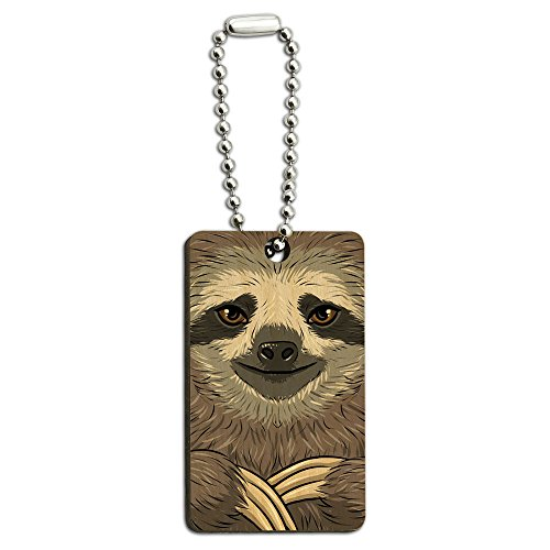 Sloth Face Wood Wooden Rectangle Key Chain
