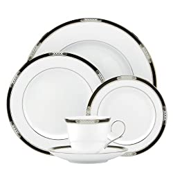 Lenox 837587 Hancock Platinum 5-Piece Place Setting, White