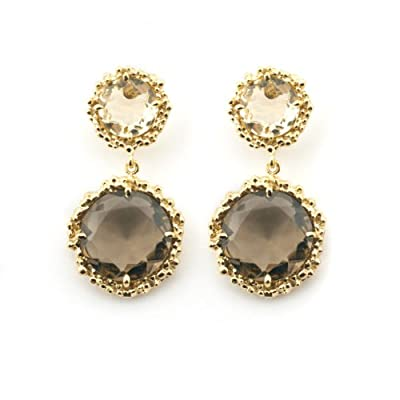 Opulent Citrine and Quartz Earrings by Mounir